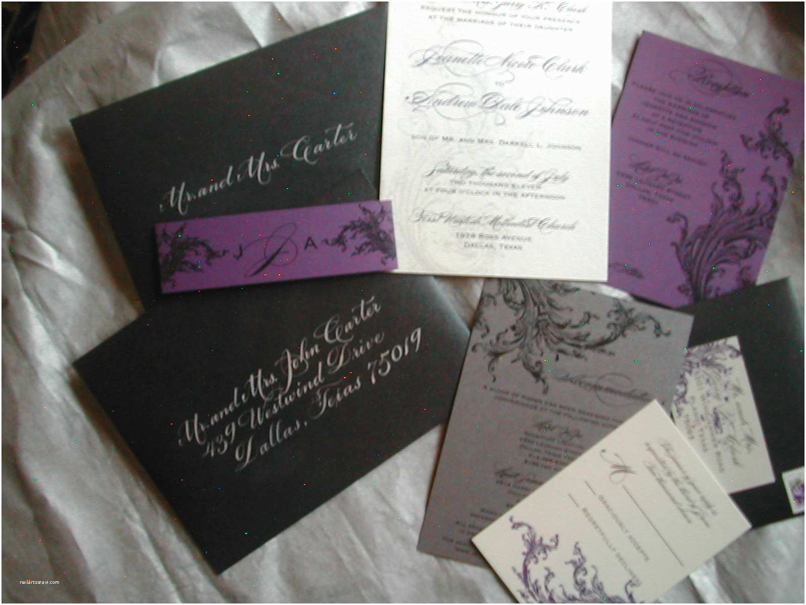Purple Silver and Black Wedding Invitations Black and Purple Wedding Invitation