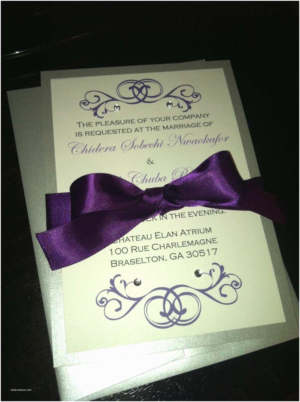 Purple Silver and Black Wedding Invitations Black and Silver Wedding Invitations