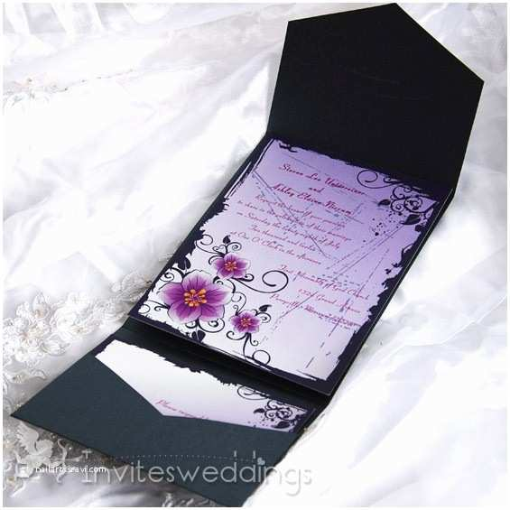 Purple Silver and Black Wedding Invitations Classic Purple Flowers Black Pocket Wedding Invitations