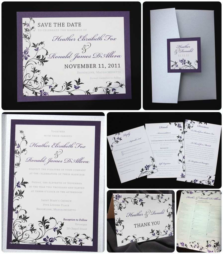 Purple Silver and Black Wedding Invitations Dark Purple Black & Silver Floral Pocketfold Wedding