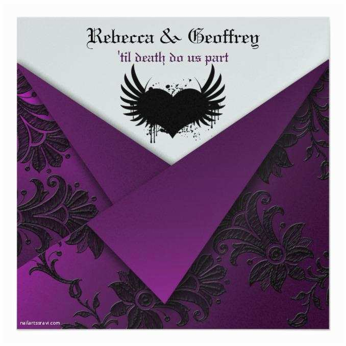 Purple Silver and Black Wedding Invitations Gothic Purple Black Silver Wedding Invitation Wedding
