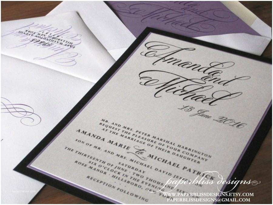Purple Silver and Black Wedding Invitations Modern Calligraphy Wedding Invitation Sample Set Purple