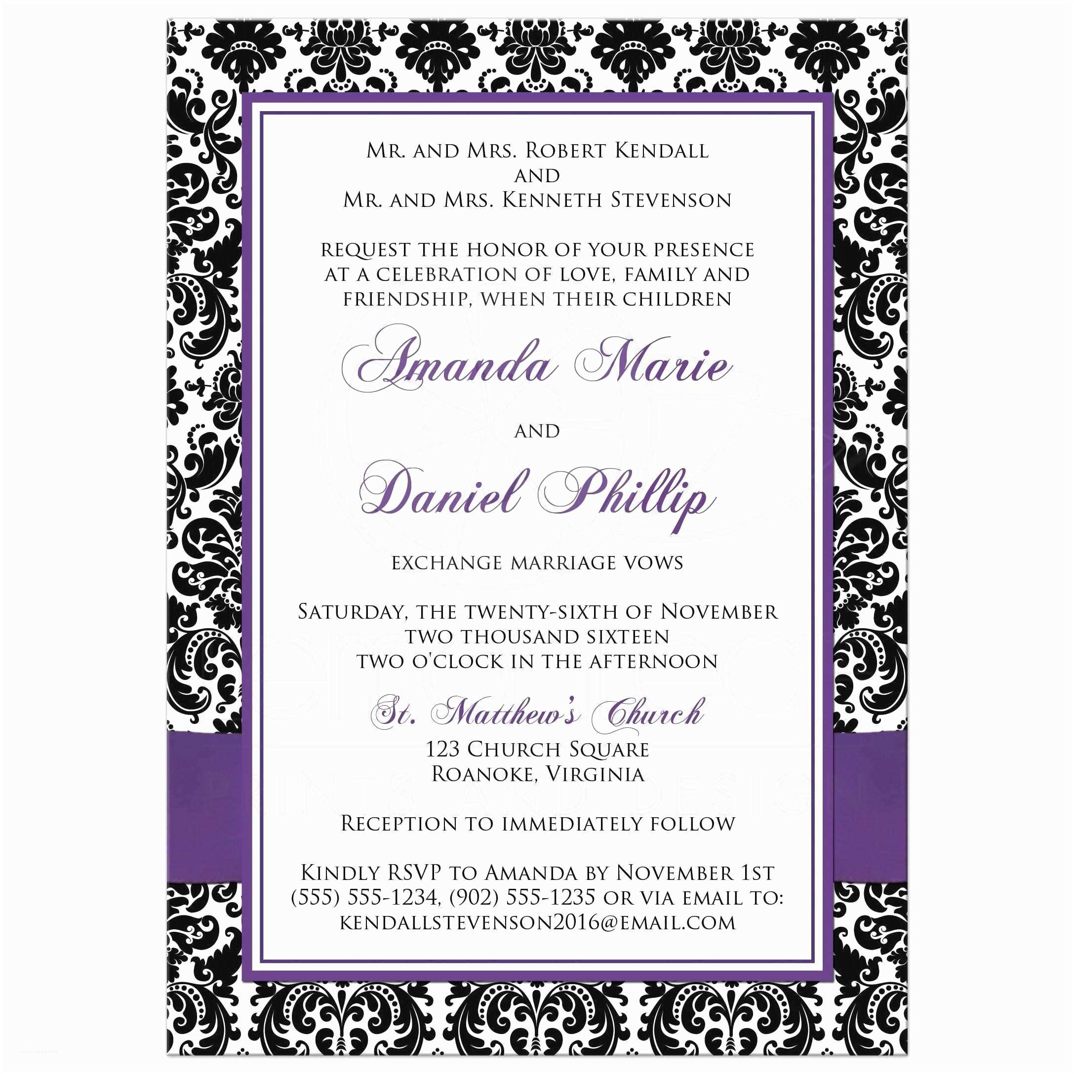 Purple Silver and Black Wedding Invitations Photo Template Wedding Invitation