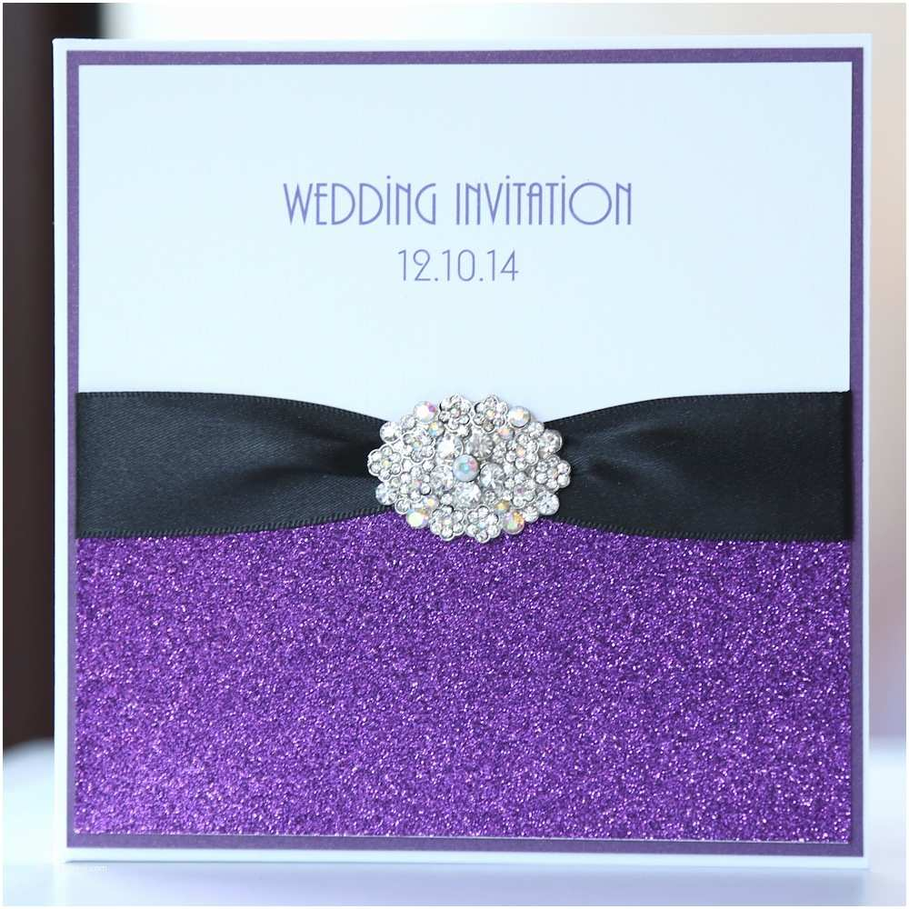 Purple Silver and Black Wedding Invitations Purple & Black Glitter Pocket Wedding Invitation Boxed
