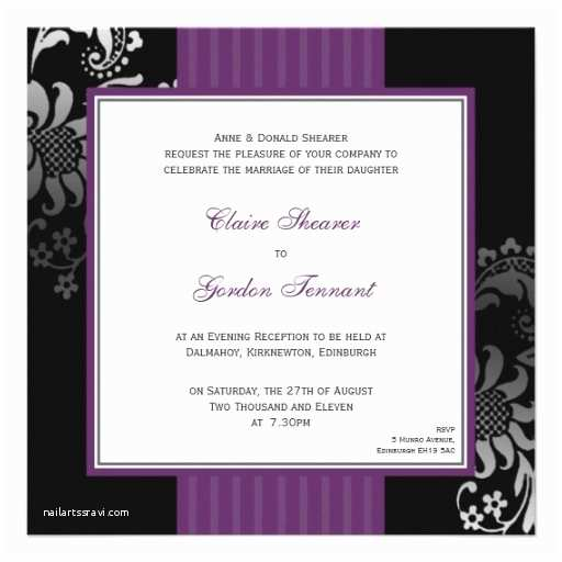 Purple Silver and Black Wedding Invitations Purple & Black Wedding Invitation Purple 13 Cm X 13 Cm