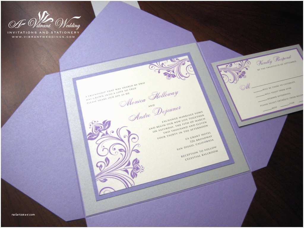 Purple Silver and Black Wedding Invitations Purple and Silver Wedding Invitation