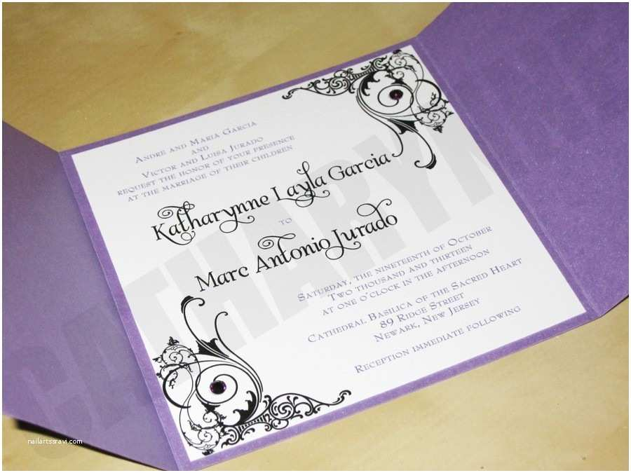 Purple Silver and Black Wedding Invitations Purple and White Wedding Invitations