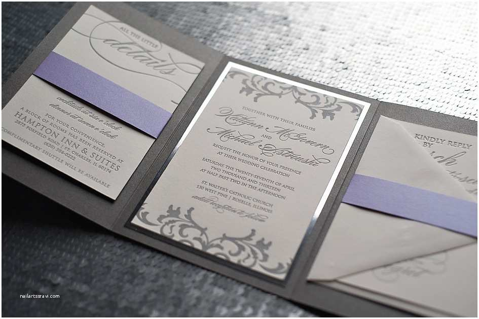 Purple Silver and Black Wedding Invitations Real Wedding Katlynn and Michael