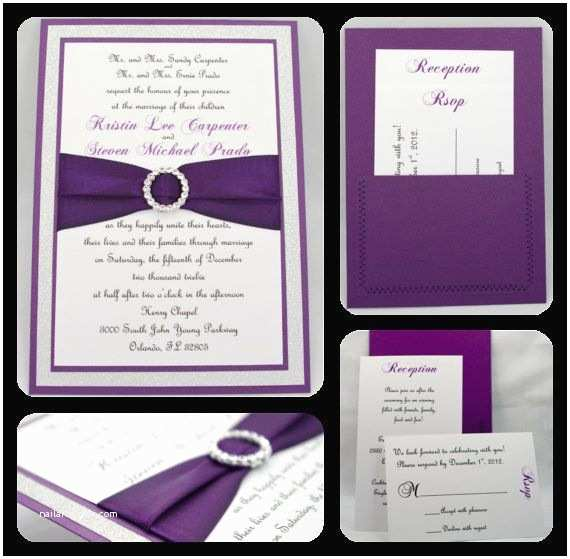 Purple Silver and Black Wedding Invitations Stunning Purple & Silver Glitter Wedding Invitation by