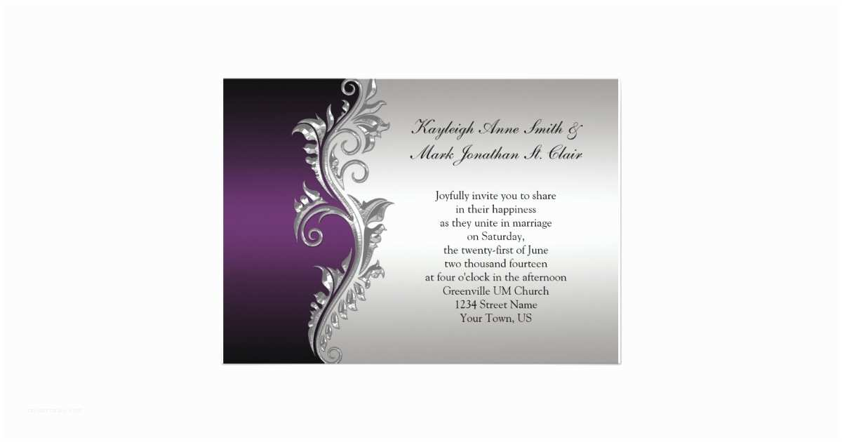 Purple Silver and Black Wedding Invitations Vintage Purple Black and Silver Wedding Invitation