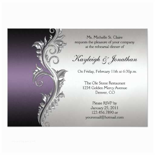 Purple Silver and Black Wedding Invitations Vintage Purple Black Silver Rehearsal Dinner Announcement