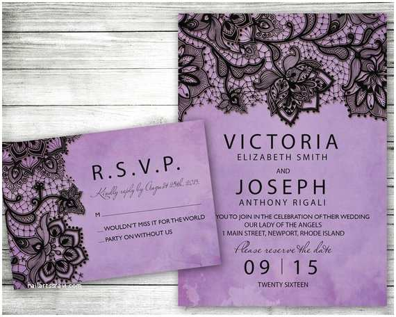 Purple Silver and Black Wedding Invitations Wedding Invitation Purple Black Lace Printable Invite Set