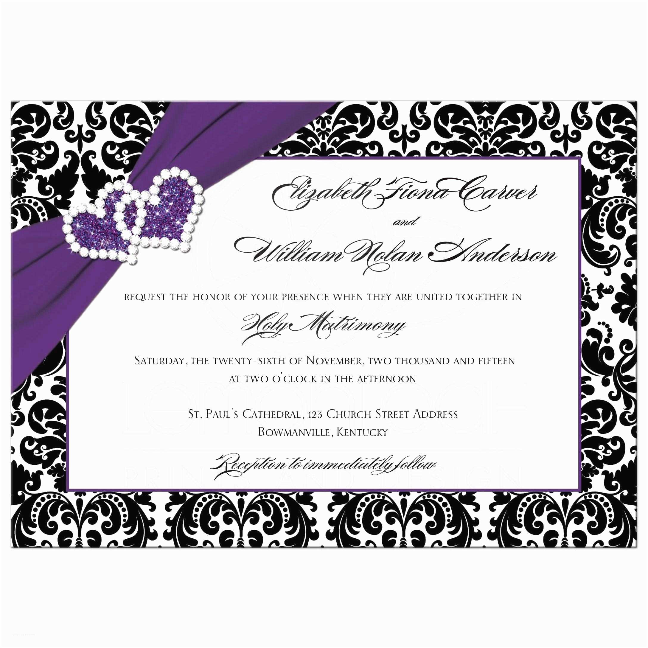 Purple Silver and Black Wedding Invitations Wedding Invitation Purple Black White Damask