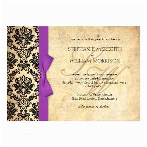 Purple Vintage Wedding Invitations Damask Vintage Purple Bow Wedding Invitation