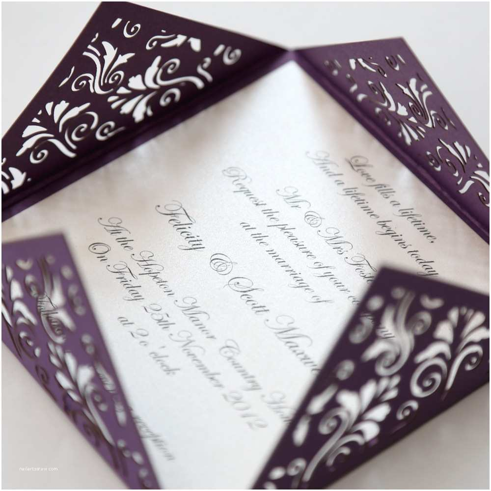 Purple Vintage Wedding Invitations Floral Purple Square Laser Cut Wedding Invitation