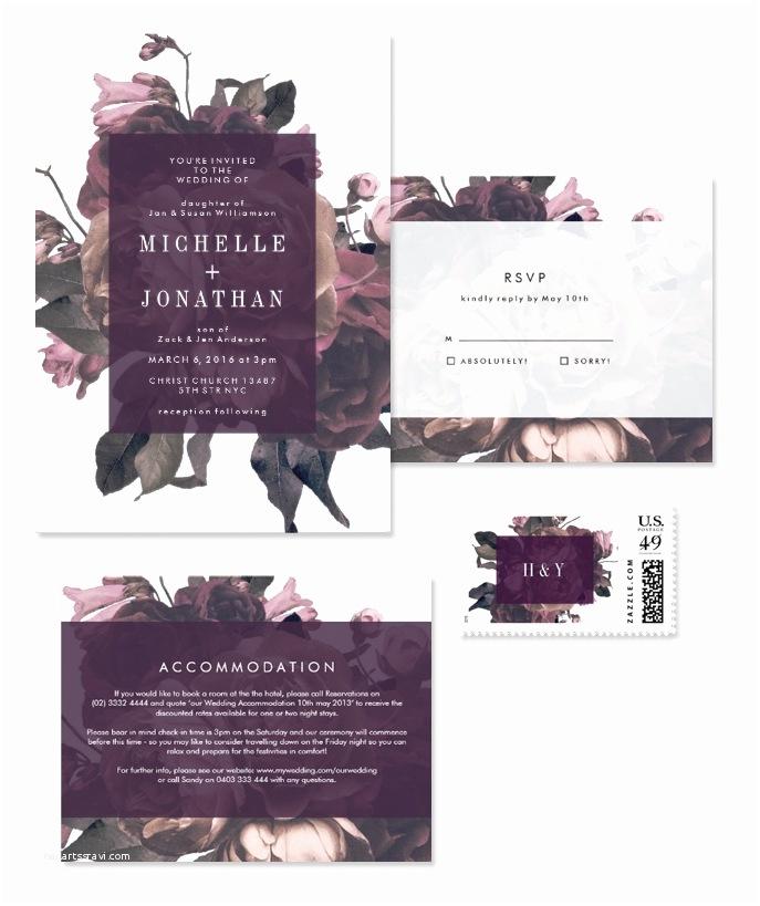 Purple Vintage Wedding Invitations Gorgeous Modern & Vintage Floral Wedding Invitations From