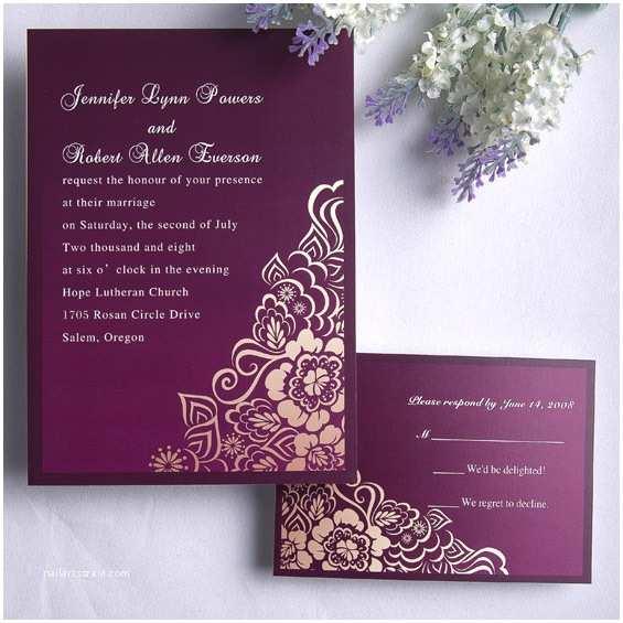 Purple Vintage Wedding Invitations Personalized Retro Exquisite Purple Floral Wedding