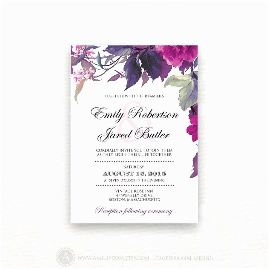 Purple Vintage Wedding Invitations Printable Wedding Invitation Kits Purple Matik for
