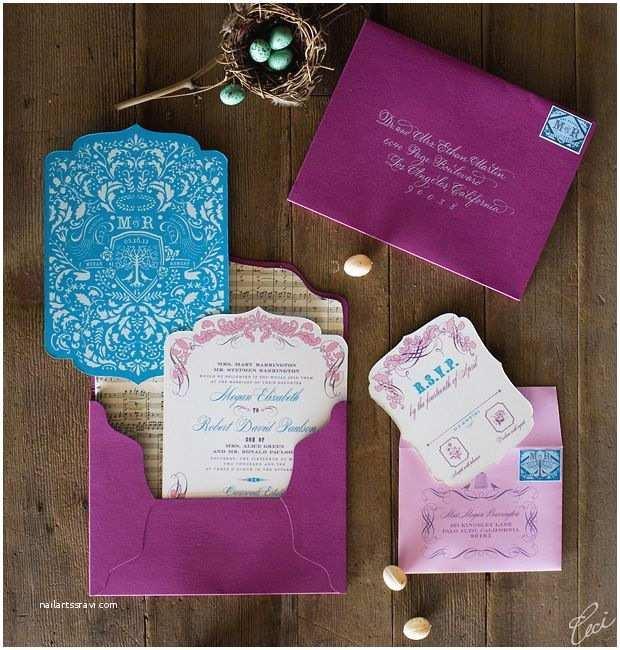Purple Vintage Wedding Invitations Purple and Blue Wedding Invitations