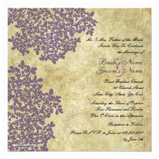 Purple Vintage Wedding Invitations Purple Floral Vintage Square Wedding Invitations 5 25