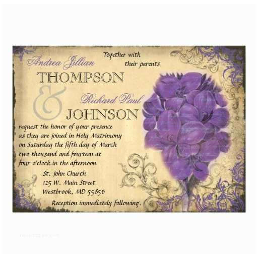 Purple Vintage Wedding Invitations Purple Floral Vintage Wedding Invitation