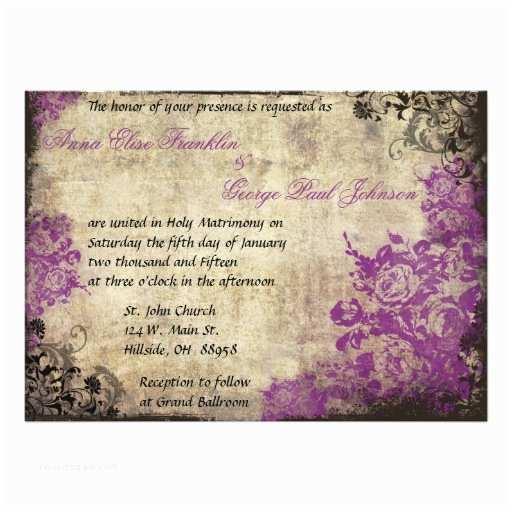 Purple Vintage Wedding Invitations Purple Roses Vintage Wedding Invitation
