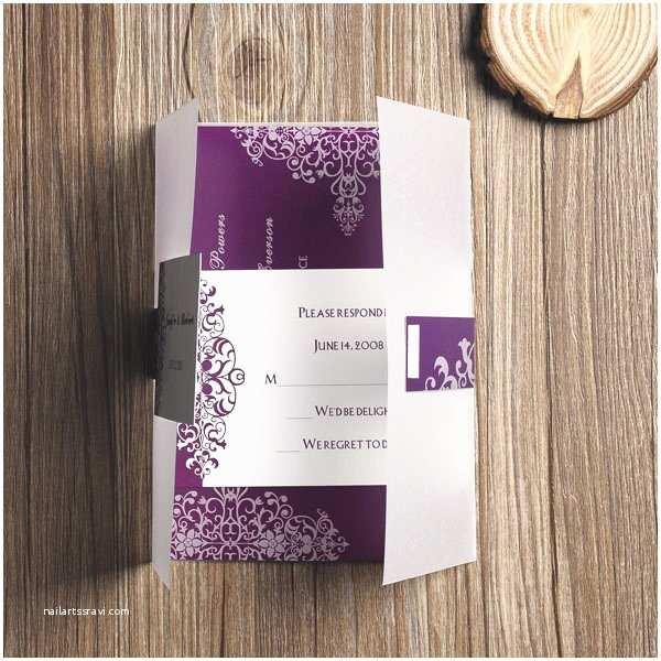 Purple Vintage Wedding Invitations Purple Vintage Damask Printed Cheap Pocket Wedding