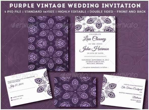 Purple Vintage Wedding Invitations Purple Vintage Wedding Invitation By
