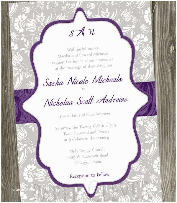 Purple Vintage Wedding Invitations Purple Wedding Invitations Bitsy Bride