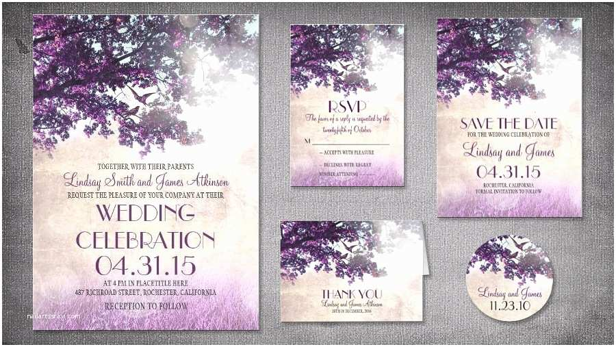 Purple Vintage Wedding Invitations Read More – Vintage Old Purple Tree Wedding Invitations