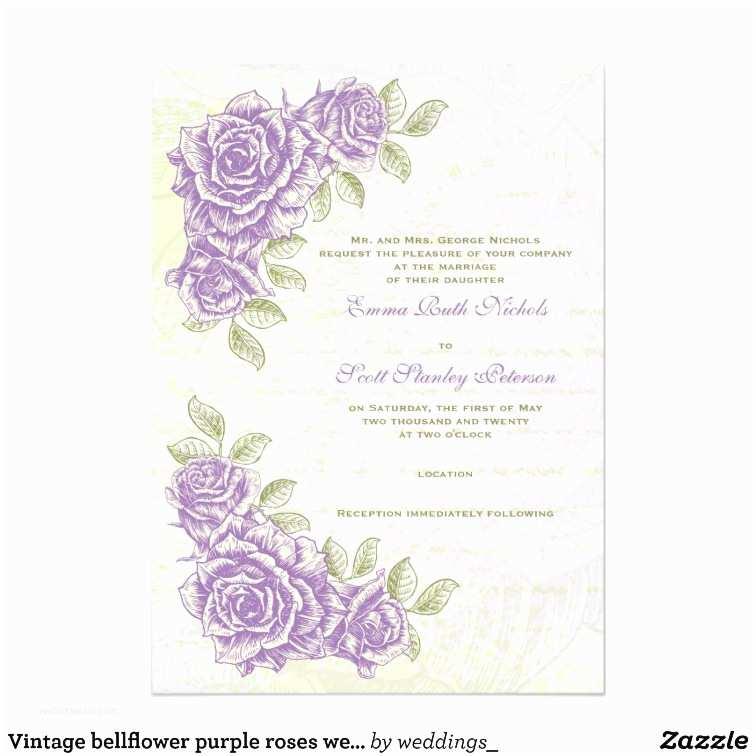 Purple Vintage Wedding Invitations Vintage Bellflower Purple Roses Wedding Invitation