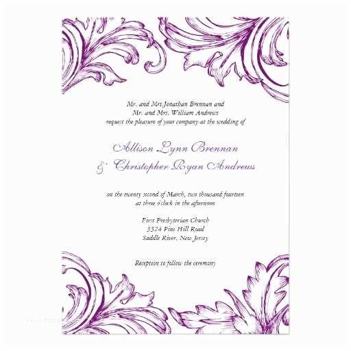 """Purple Vintage Wedding Invitations Vintage Damask Wedding Invitation Purple & White 5"""" X"""