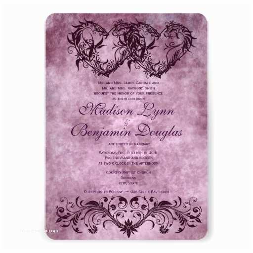 """Purple Vintage Wedding Invitations Vintage Double Hearts Purple Wedding Invitations 5"""" X 7"""