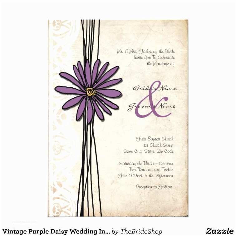 Purple Vintage Wedding Invitations Vintage Purple Daisy Wedding Invitations