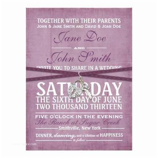 "Purple Vintage Wedding Invitations Vintage Purple Paper Wedding Invitation 6 5"" X 8 75"