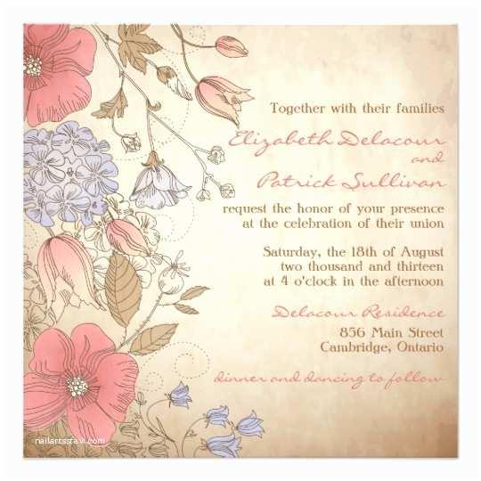 Purple Vintage Wedding Invitations Vintage Red and Purple Flowers Wedding Invitation