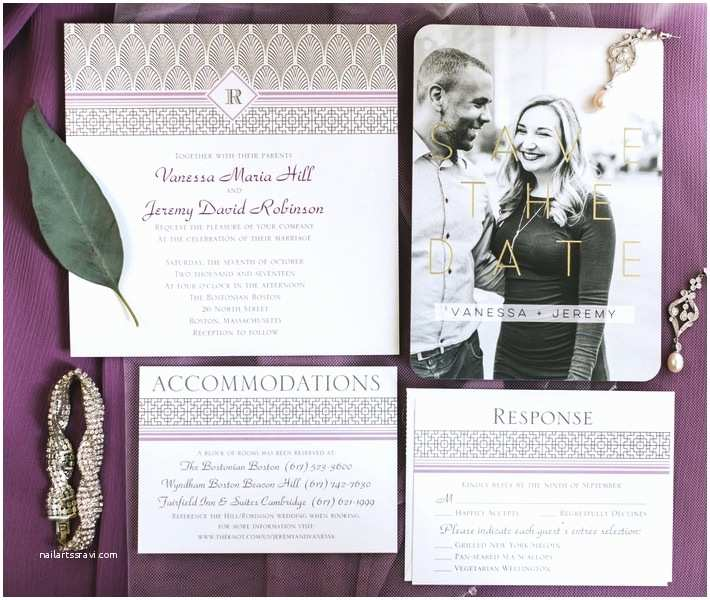 Purple Vintage Wedding Invitations Vintage Style Boston Wedding Vanessa Jeremy