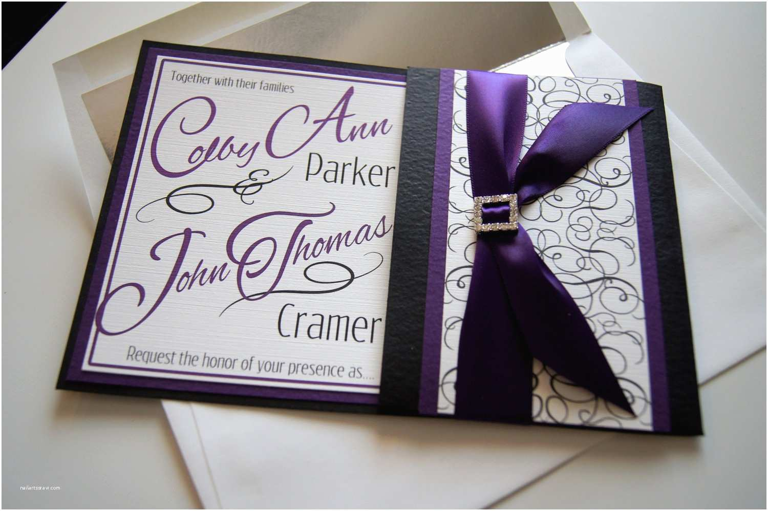 Purple Wedding Invitations Colby S Custom Purple and Black Pocket Wedding Invitation