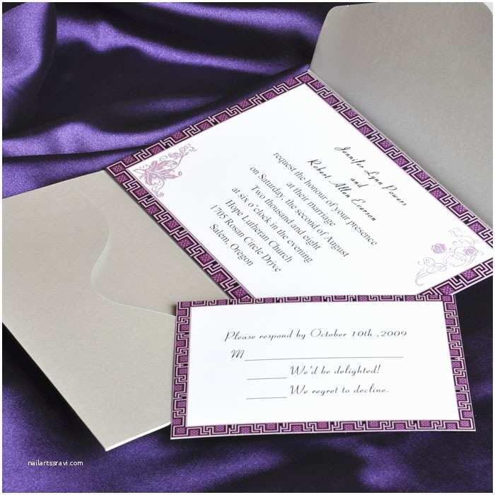 Purple Wedding Invitations Elegant Purple and Gray Pocket Wedding Invitation Cards