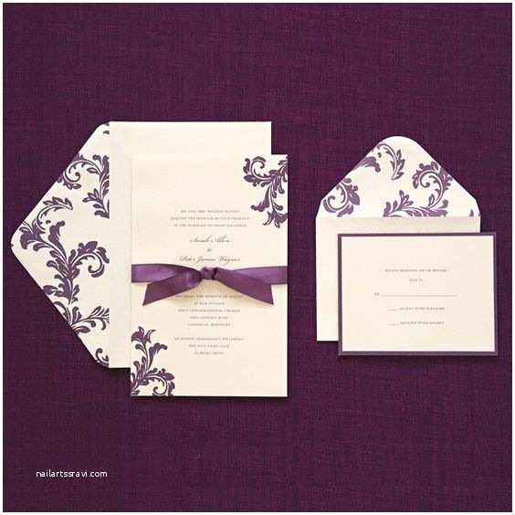 Purple Wedding Invitations Kits 40 $40 Includes Response Cards & Purple Ribbon Print at