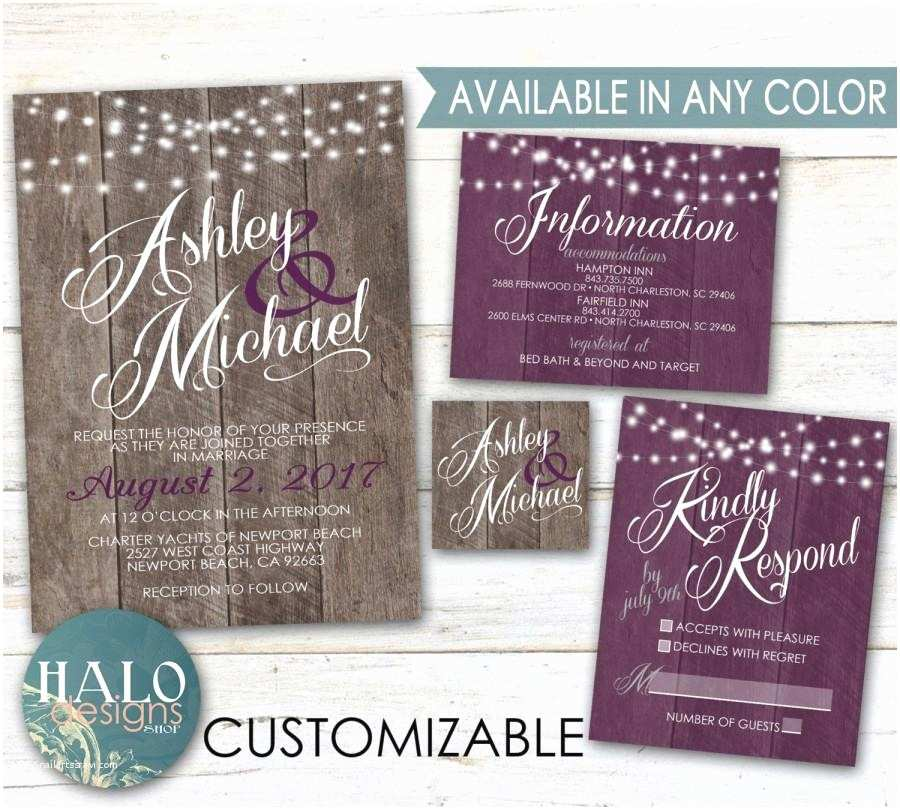 purple rustic wedding invitations plum eggplant purple wood invitation kit