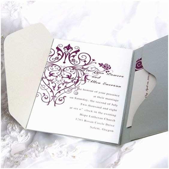 Purple Wedding Invitations Kits Vintage Purple Chandelier Grey Pocket Wedding Invitation