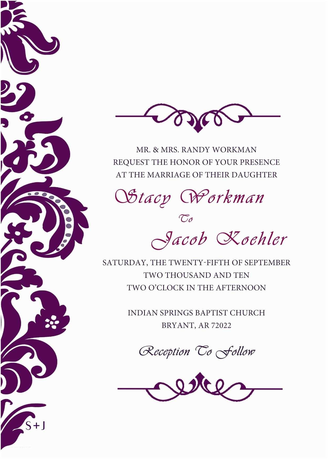 Purple Wedding Invitations Purple Invitations Template