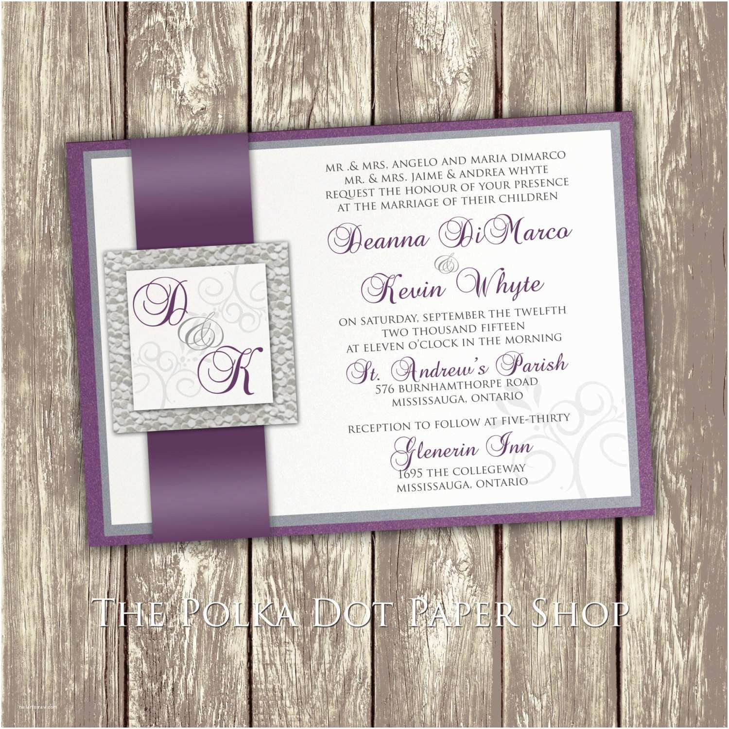 Purple Wedding Invitations Wedding Invitation Purple and Silver Invitation Pebble