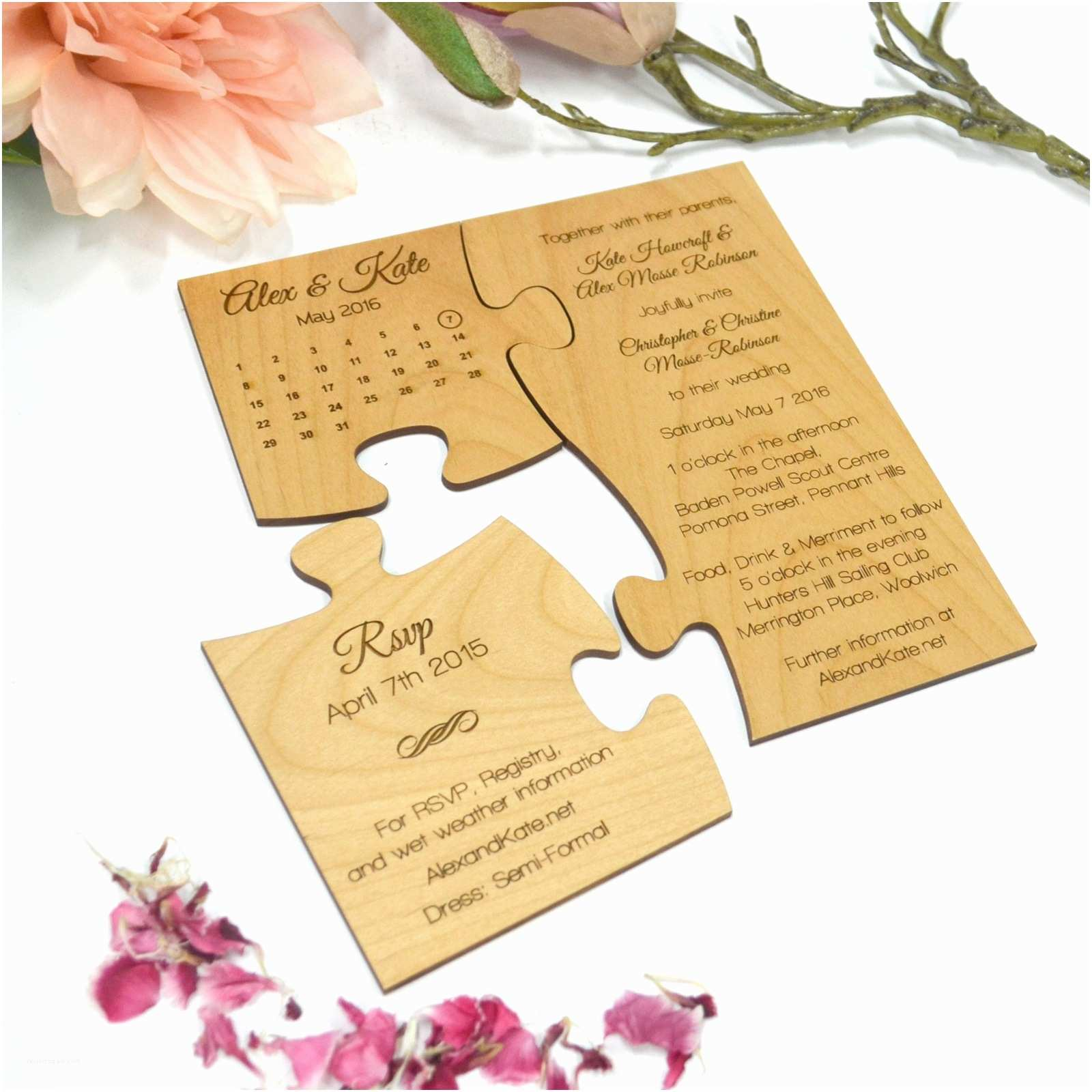 Puzzle Wedding Invitations Engraved Wooden Puzzle Wedding Invitation with Save the