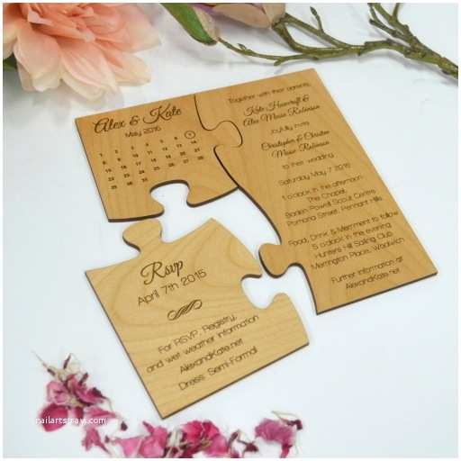 Puzzle Wedding Invitations Engraved Wooden Save the Date Puzzle