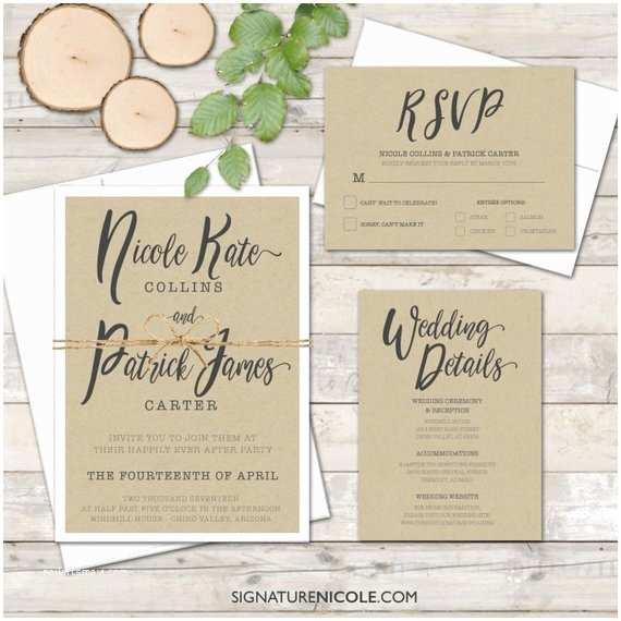 Quick Wedding Invitations Items Similar to Rustic Wedding Invitation Suite Set Of