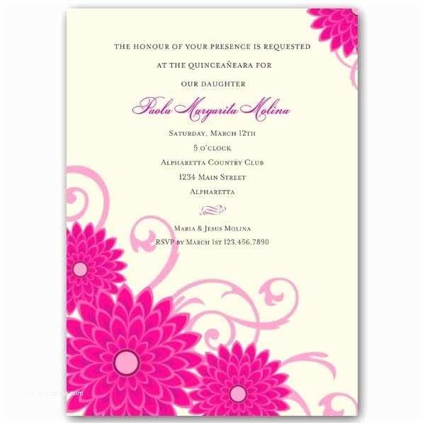 Quinceanera Invitation Wording Dahlias Pink Quinceanera Invitations