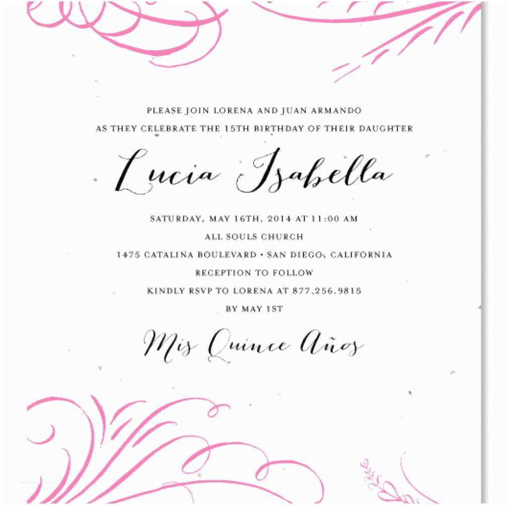 Quinceanera Invitation Wording Princess Beautiful Sweet