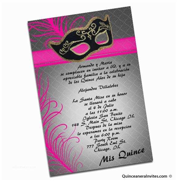 Quinceanera Invitation Wording Masquerade Quinceanera Invitations